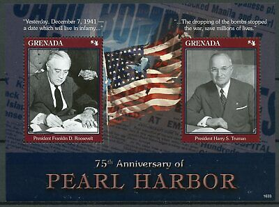 Grenada 2016 MNH Pearl Harbor Attack 75th Anniv 2v S/S WWII Roosevelt Stamps