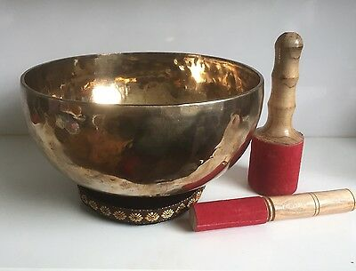 10'' Huge Handmade Hammered Tibetan Singing Bowl 7 Metals Crown Chakra B