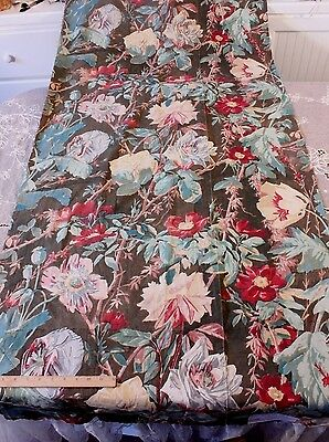 "Antique French Hand Blocked Cabbage Rose HomeDec Fabric c1880~1yd33""LX32""W"