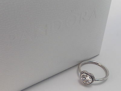 Authentic Genuine Pandora Sterling Silver Sparkling Heart Ring - 190929CZ