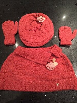 Mayoral Girl Toddler Baby Scarf Hat Gloves Set Stunning