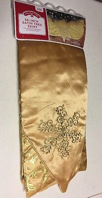 """NEW Holiday Time 56"""" Gold Satin Embroidered & Glittery Christmas Tree Skirt"""