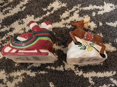 Mikasa Christmas Wish Santa/Reindeer Salt & Pepper Shaker NEW NIP Christmas
