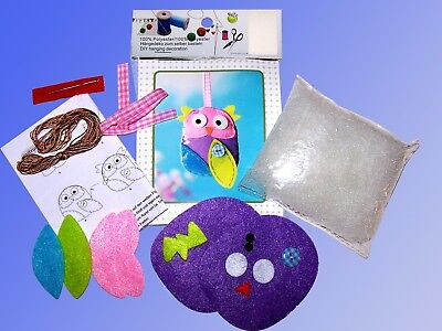 Creative Crafting Set,Decor Hanger UHU/Owl,Felt Näh Needle Yarn Buttons Flies