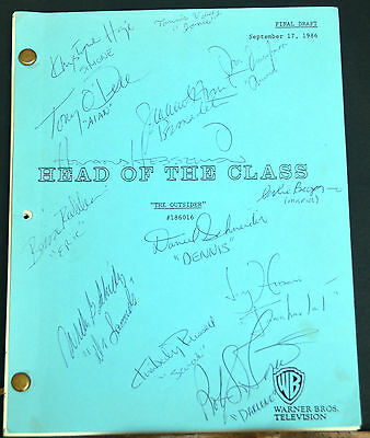 "Signed TV Script by the entire cast. ""Head of The Class"" (The Outsider) 1986"