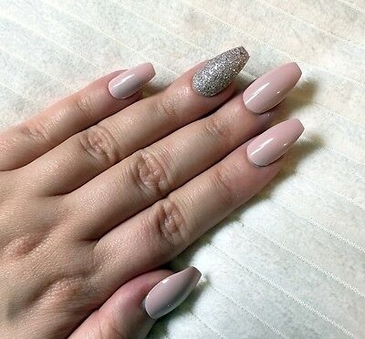 Hand Painted False Nails COFFIN (or ANY SHAPE) Gloss Pastel Pink Nude and Bronze
