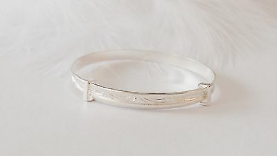 Solid Sterling Silver Cute Baby Boy / Girl Christening Bangle Baptism Bracelet
