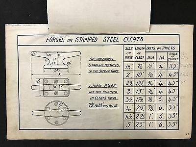 Harland & Wolff 1930's Original Eng Drawing FORGED OR STAMPED STEEL CLEATS (P2)