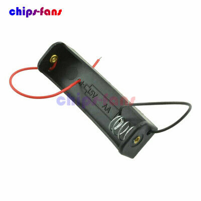 10Pcs Single AA 1.5V Plastic Battery Storage Case Clip Holder Box With Wire Lead