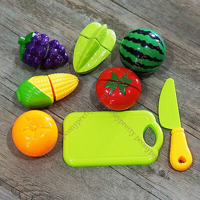 Pretend Role Play Kitchen Fruit Vegetable Food Education Toy Cutting Set Kids e