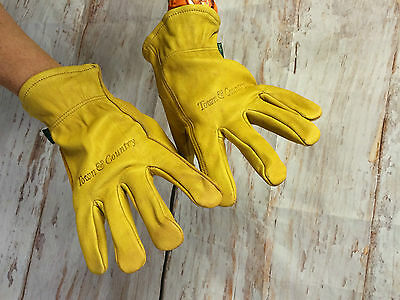 Town & Country Real Leather Gardening Work Gloves  Tan 100% Leather New