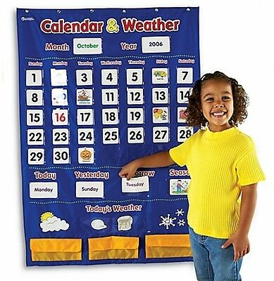 Learning Resources Calendar and Weather Pocket Chart Kids Educational Toy NEW