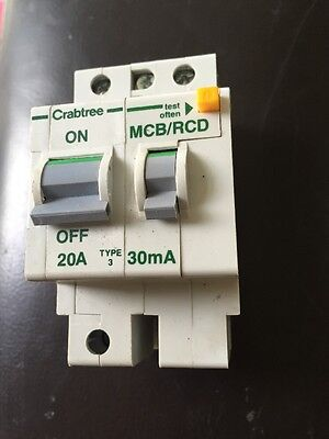 CRABTREE POLESTAR 20 AMP TYPE C/3 20A 30mA RCBO/RCD CIRCUIT BREAKER 602C/203