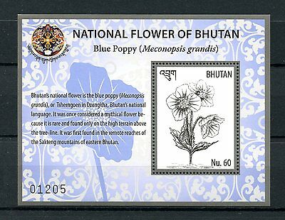 Bhutan 2016 MNH National Flower Blue Poppy 1v S/S Poppies Flowers Stamps