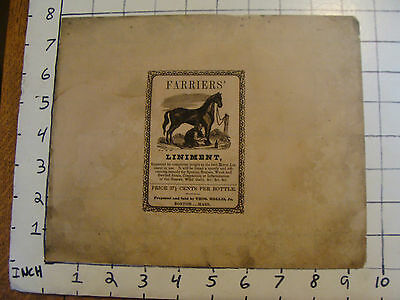 Original unused wrapper mid 1800's FARRIERS' LINIMENT thos. hollis jr. BOSTON.
