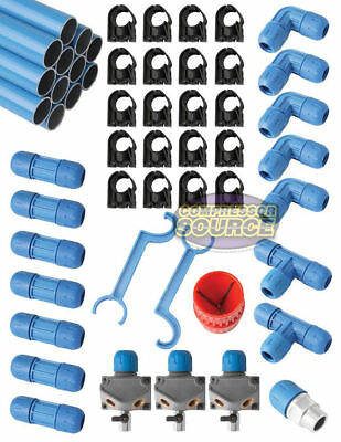 """F28075 Fast Pipe 100' 3/4"""" Compressed Air Line Aluminum Piping System Tubing Kit"""