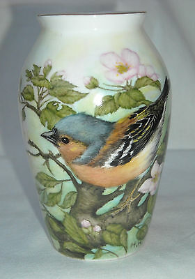 Hand Painted Bone China Collectable Vase - 'Chaffinch'