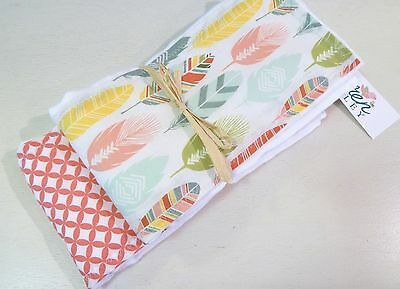 NWT Feather Infant Baby Girl Burp Cloth Set Coral Teal Woodland Forest Boho