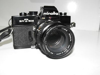 Minolta SRT303 50mm Lens 35mm Film Camera Complete And In Great Condition