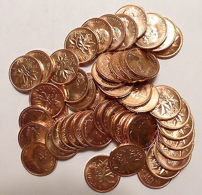 Roll of 1965 Canada one Cents - 50 coins - UNC