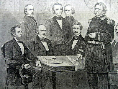 1861 illustrated Civil War newspaper pic PRESIDENT ABRAHAM LINCOLN & his CABINET