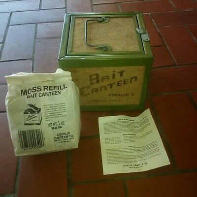 New Old Stock Oberlin Bait Canteen Box Nightcrawler Worm Storage + Moss Fill