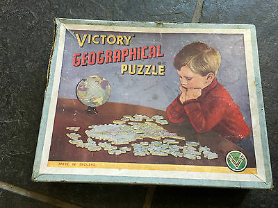 Old Vintage Games Jigsaw Victory Geographical Puzzle Wood