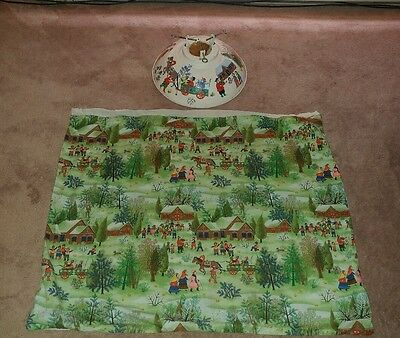 VTG TIN HAND PAINTED, METAL CHRISTMAS  WINTER TREE STAND w/SKIRT COMPLETE!