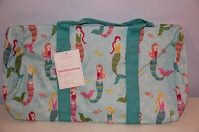 Pottery Barn Kids Aqua Mermaid Duffle Bag NWT Luggage Sleepover Sold Out