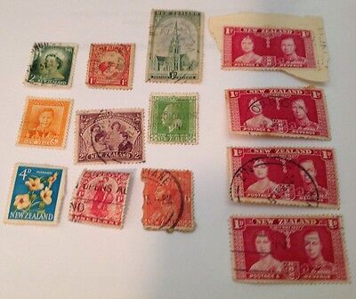 New Zealand Mixed Lot of 13 Pre-Decimal Stamps Used