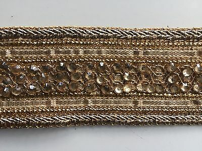 ATTRACTIVE INDIAN BRAIDED ROSE GOLD WITH CRYSTALS & GOLD LACE TRIM-SOLD by METER