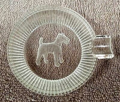 Older Etched Glass Wire Fox Terrier Ashtray Circa 1950 - Lot 56a