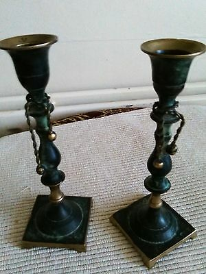 Pair Of Vintage Brass Bronze Candlesticks Candle Holders