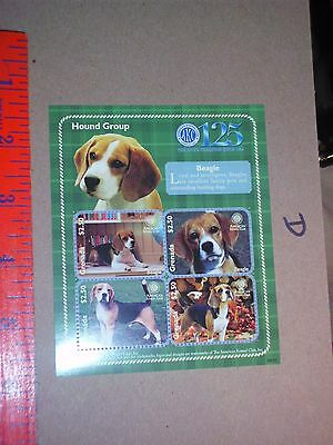 Grenada 2009 MNH SS, Beagle Dogs Domestic Animals stamp Hound $2.50 pet collect