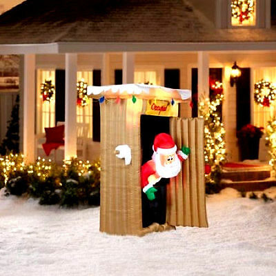 6' Tall Animated Santa Coming Out of Outhouse Scene nib