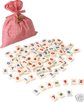 VOILA TOY wooden EDUCATIONAL NUMBERS + SYMBOLS 100 PIECES learning toy *NEW*