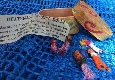 Vintage Guatemalan Worry Dolls In Band Box - Gorgeous