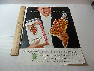 1953 Original Old Forester for the Holidays Christmas Print Ad