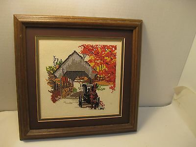 Completed Finished Wood Framed Cross Stitch Picture Covered Bridge