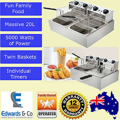Commercial Deep Fryer Electric Double Basket Benchtop Cooker NEW Stainless Steel