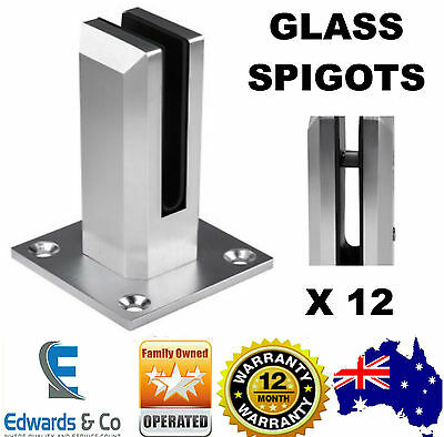 12 X Frameless Glass Spigot Balustrade Pool Fence Fencing Clamp Spigots Square