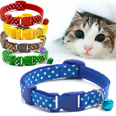 Small Dog Cat Pet Bell Polka Nylon Collar Fabric Puppy Soft Buckle Neck Chain