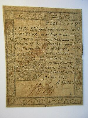 Colonial Currency Pennsylvania 1777, 4 pence, very good