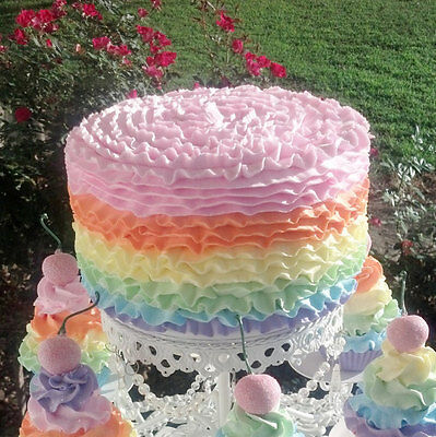 Pastel Ruffle Fake Cake For Birthday Party Decorations / Photo Props / Displays