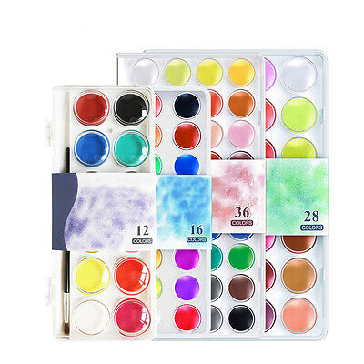 12/16/28/36 Colors set Solid Watercolor Cake Paint Pigment Set Transparent Box