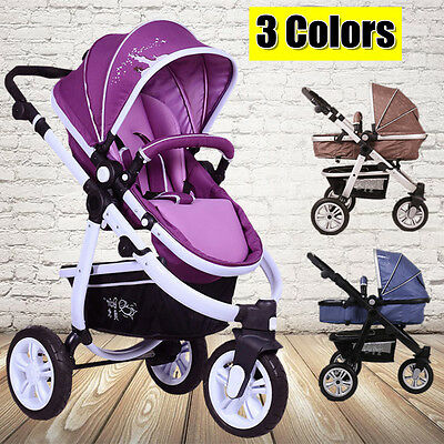 Hot 3 In 1 Baby Toddler Pram Stroller Jogger Aluminium With Bassinet 3 Colors