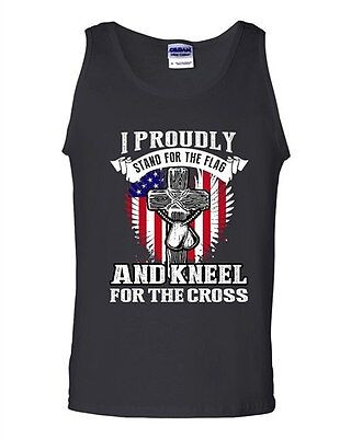 I Proudly Stand For The Flag And Kneel For The Cross Patriotic DT Adult Tank Top