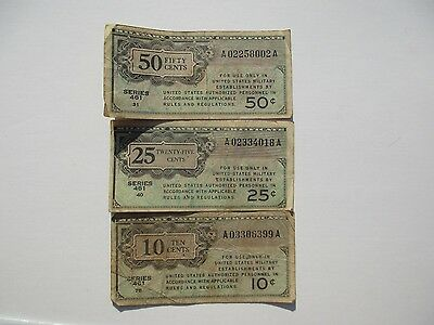 Military Payment Certificates, Series 461, set of 3 notes
