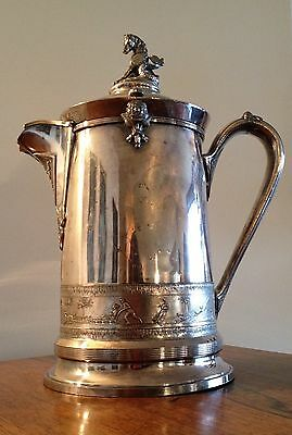 """15"""" Antique Reed & Barton Silver Plated Ice Pitcher Hippocampus Finial"""