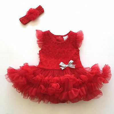 2pcs Newborn Baby Girl Headband+Romper Bodysuit Tutu Dress Set Outfit Party Tops
